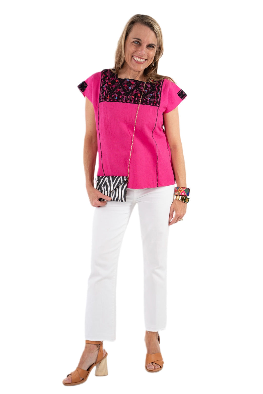 San Andres Mexican Blouse - Hot Pink and Black