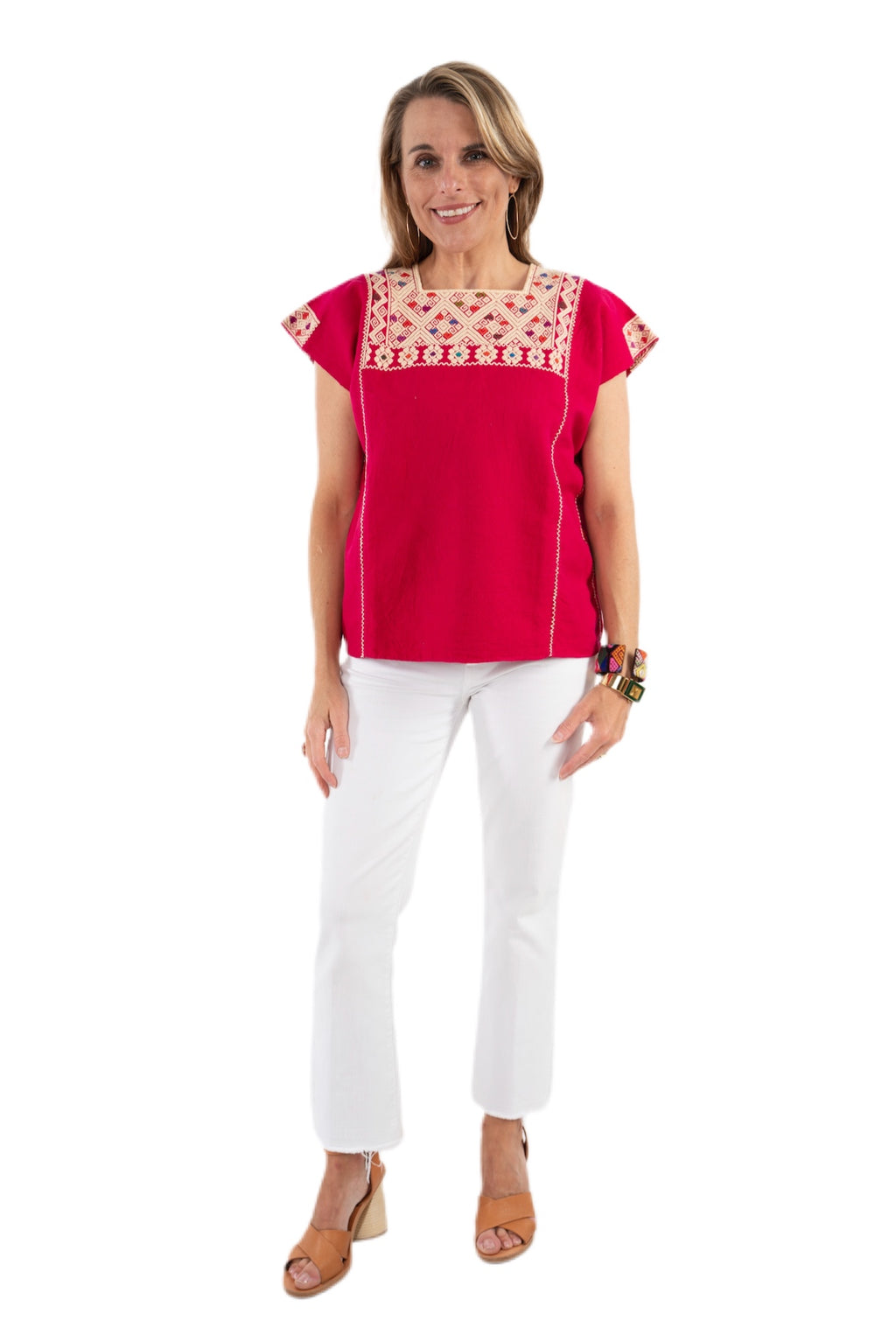 San Andres Mexican Blouse - Raspberry
