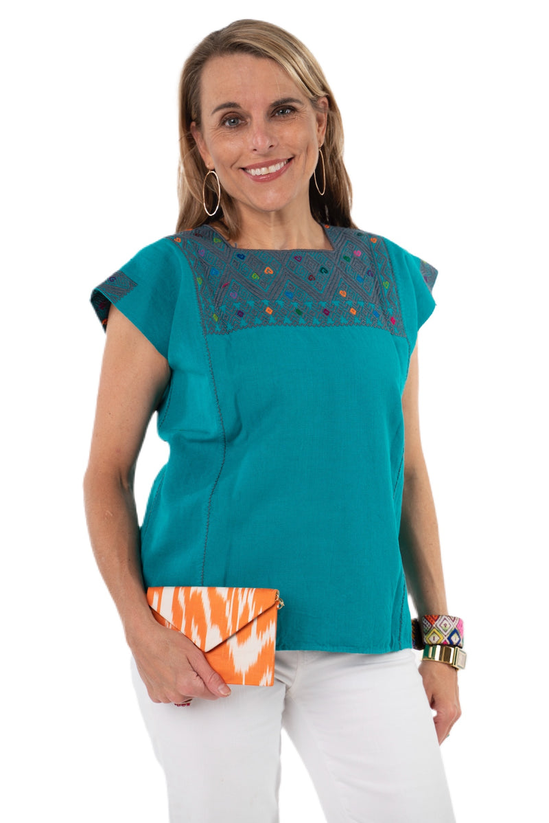 San Andres Mexican Blouse - Teal