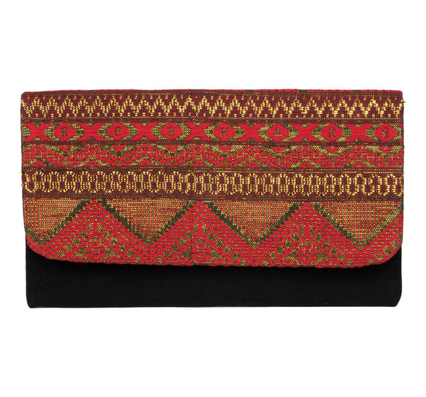 """Saffron"" Guatemalan Textile Clutch, Red, Black, Gold"