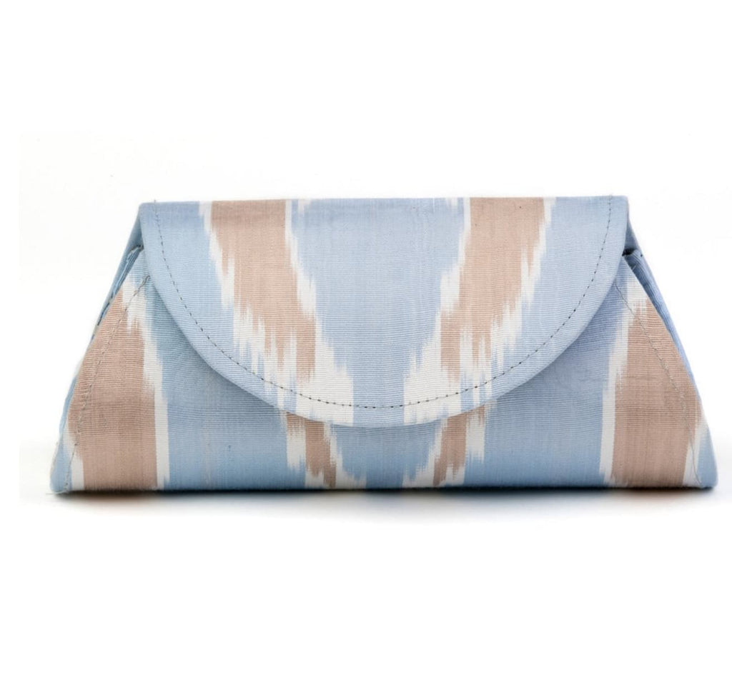 """Shelby"" Silk Ikat Hard Shell Clutch, Small, Light Blue and Brown"