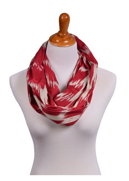 """Athenia"" Cotton Ikat Infinity Scarf Red"