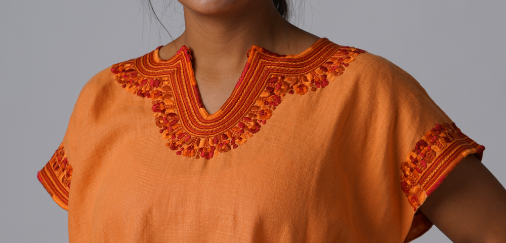 """Kahlo"" Blouse from Mexico, Embroidered Linen in Orange, Size Medium"
