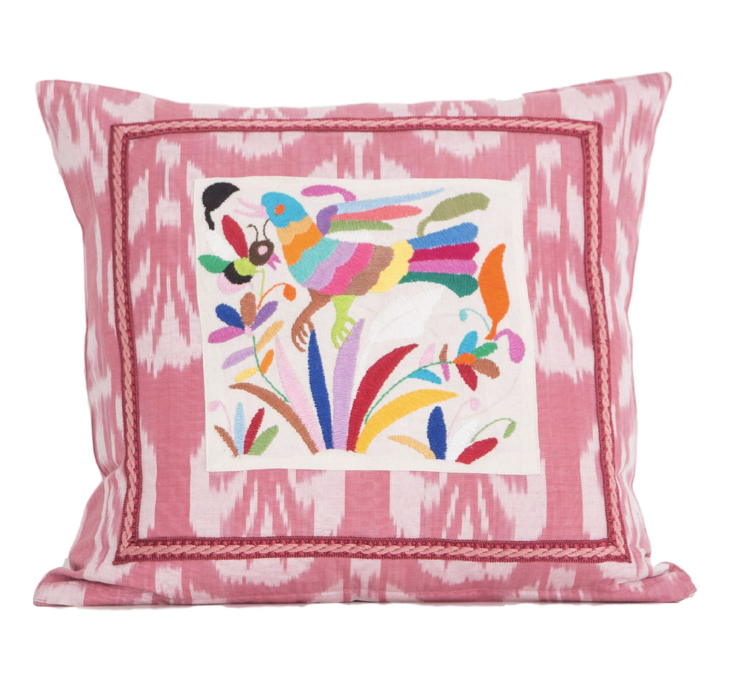 Nahua Silk Ikat and Otomi Pillow