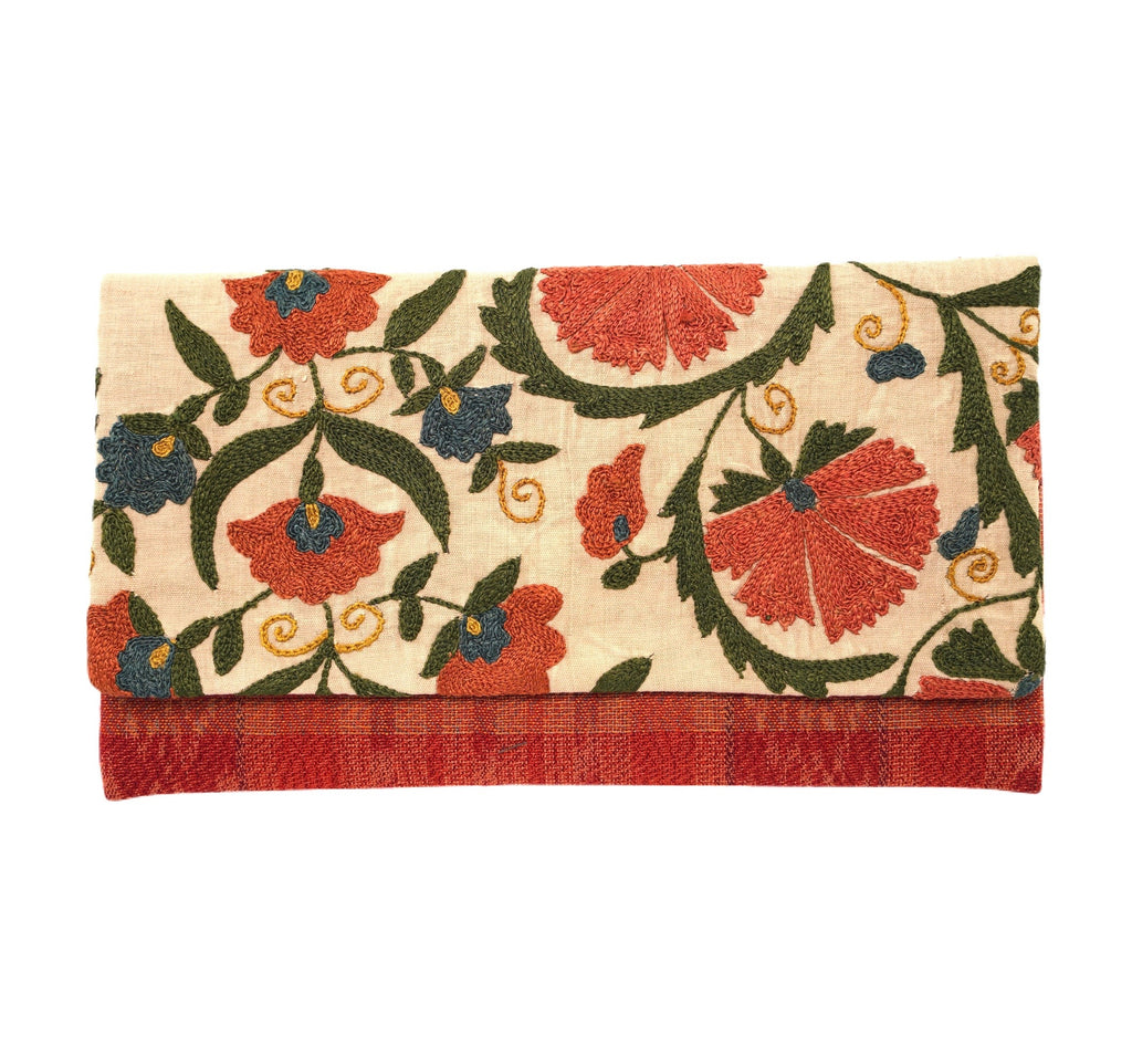 Collioure Antique Suzani and Guatemalan Textile Clutch