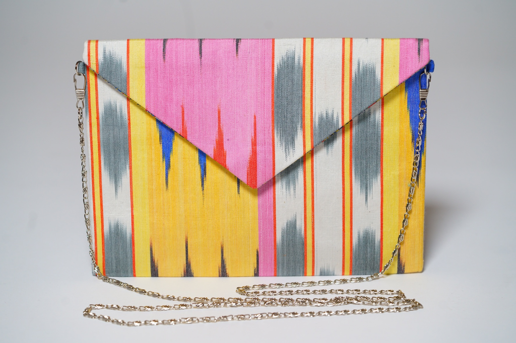 """Tamsin"" Silk Ikat Envelope Clutch"
