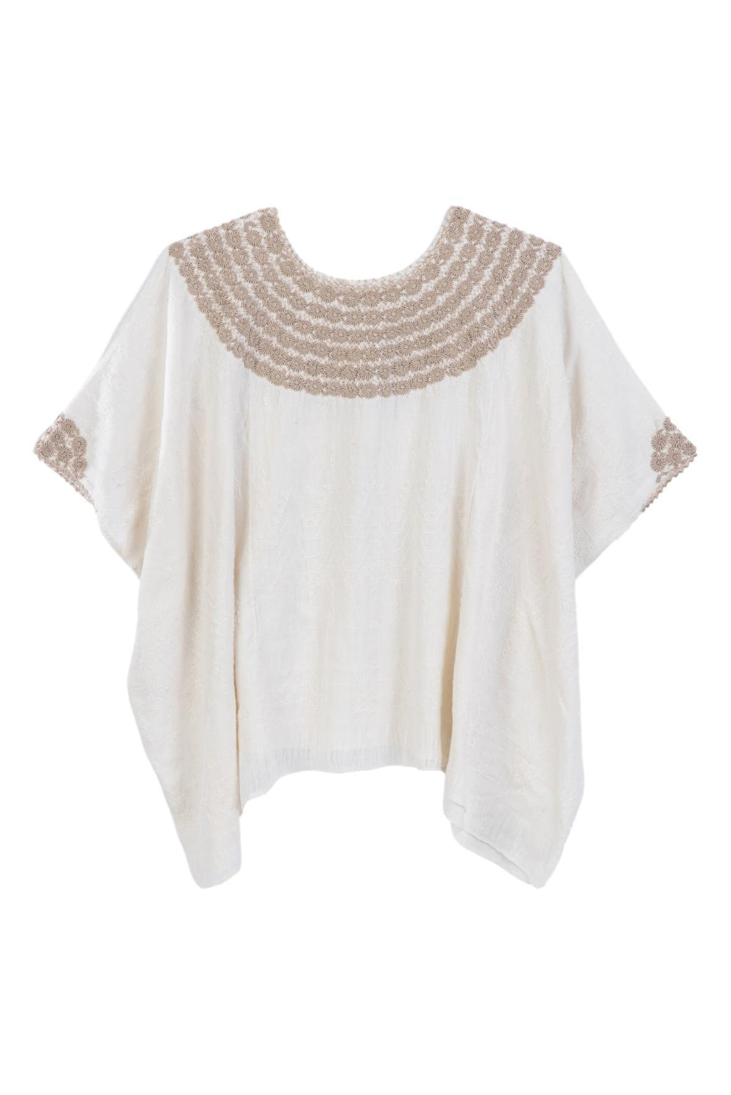 Hand-loomed and hand-embroidered tunic ivory blouse