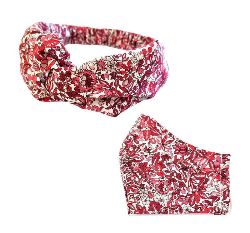 Headband + Face Mask Gift Set, Liberty of London, Persimmon Red, Pink, Taupe