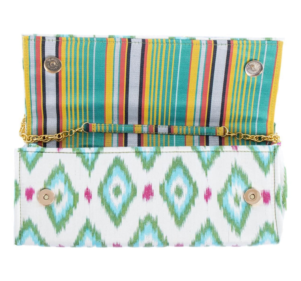 mint and white silk envelope clutch with striped inside