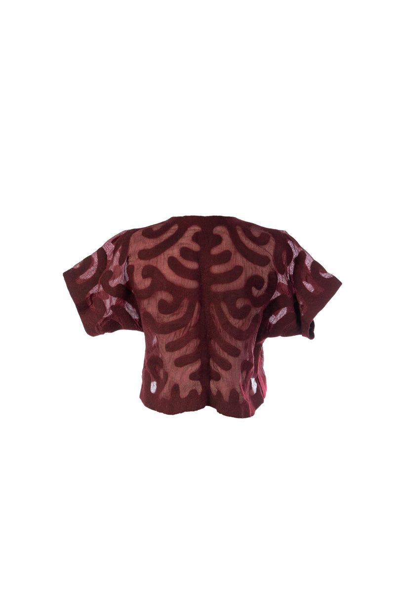 Felted Wool Shrug in Bordeaux/ Burgundy