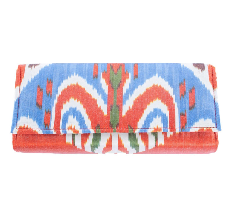 silk long envelope clutch light blue and orange