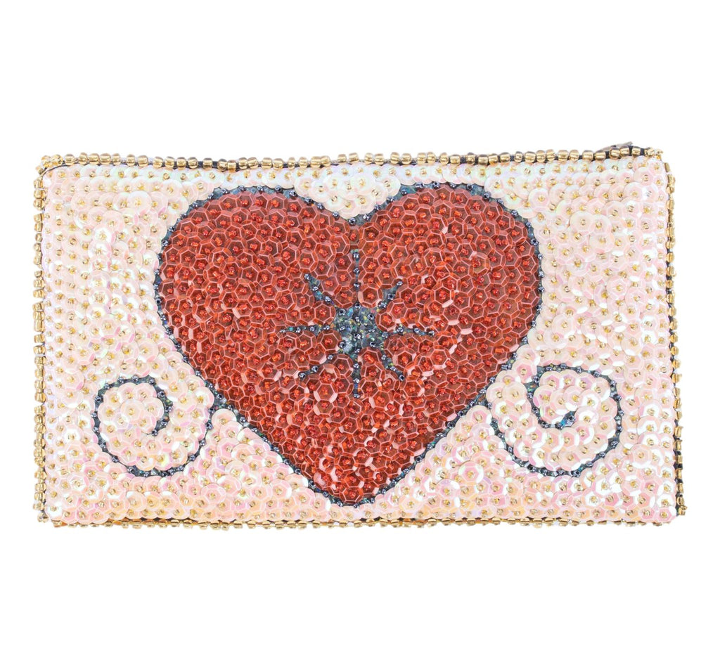 Erzulie Beaded Clutch from Haiti- Blush Pink, Red