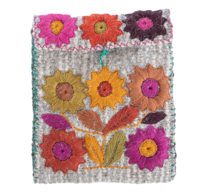 Elena Crossbody Purse-Grey Multi with Large flowers