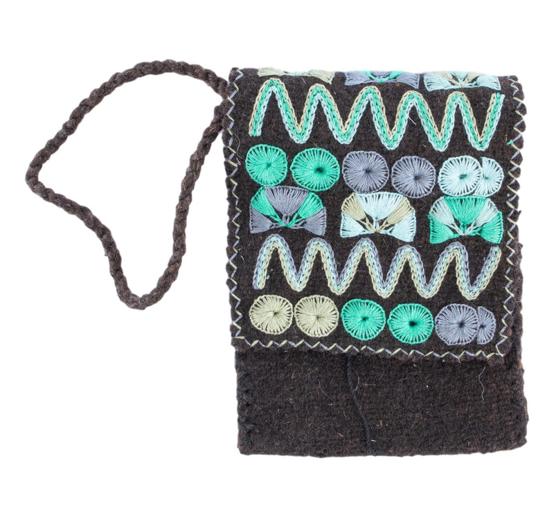 Elena Crossbody Purse-Brown and Teal