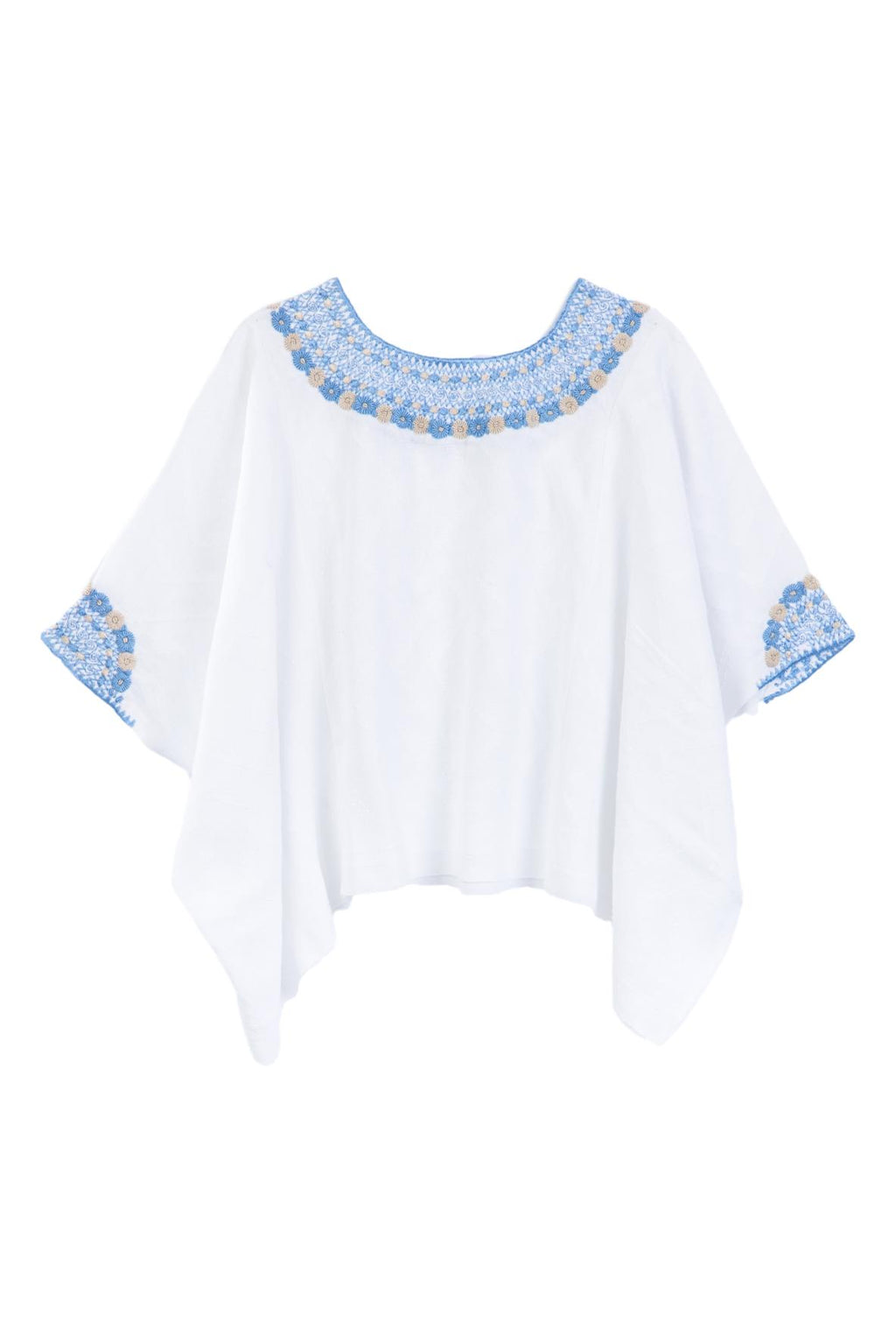Evelyn Guatemalan Blouse - French Blue and Taupe
