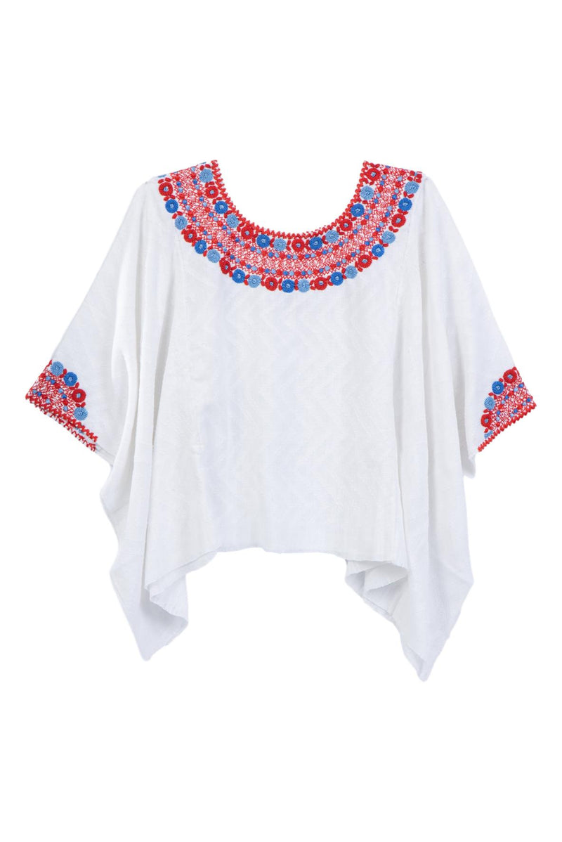 Evelyn Guatemalan Blouse - Red and French Blue