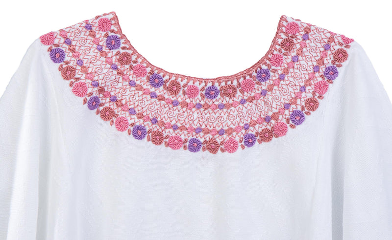Evelyn Guatemalan Blouse - Dusty Rose and Lavender