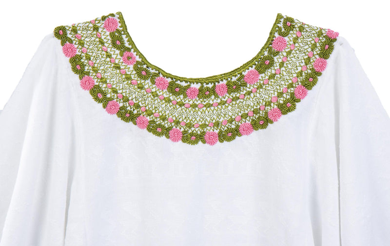 Evelyn Guatemalan Blouse - Moss Green and Pink