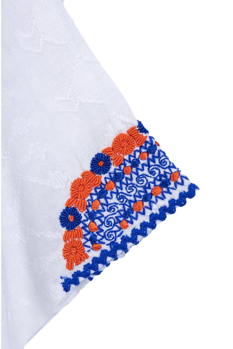 Evelyn Guatemalan Blouse - Blue and Orange