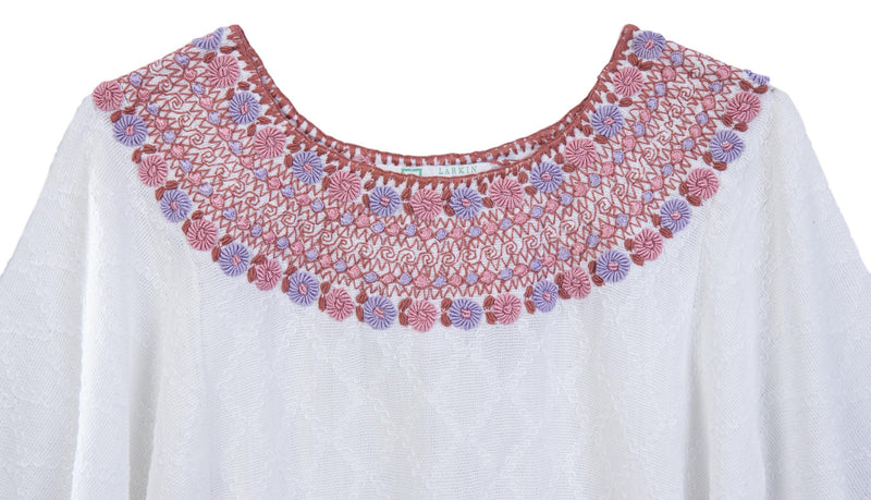 Beatriz Guatemalan Blouse - Dusty Rose and Lilac