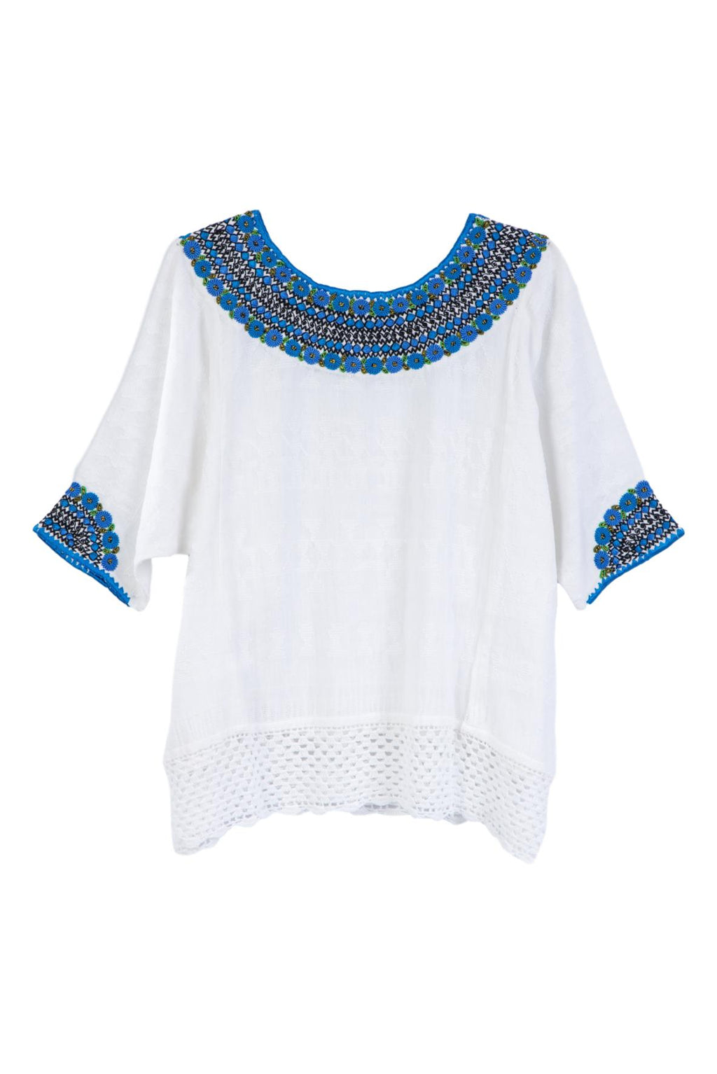 Leonore Guatemalan Blouse - Royal Blue and Black