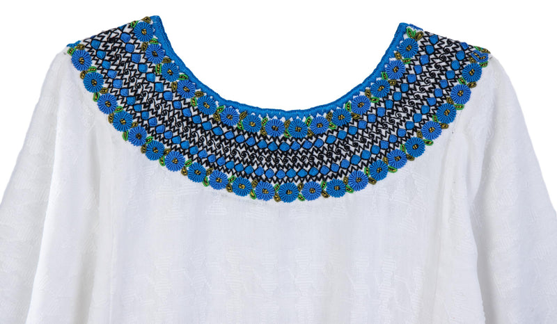 Leonore Guatemalan Blouse - French Blue and Black