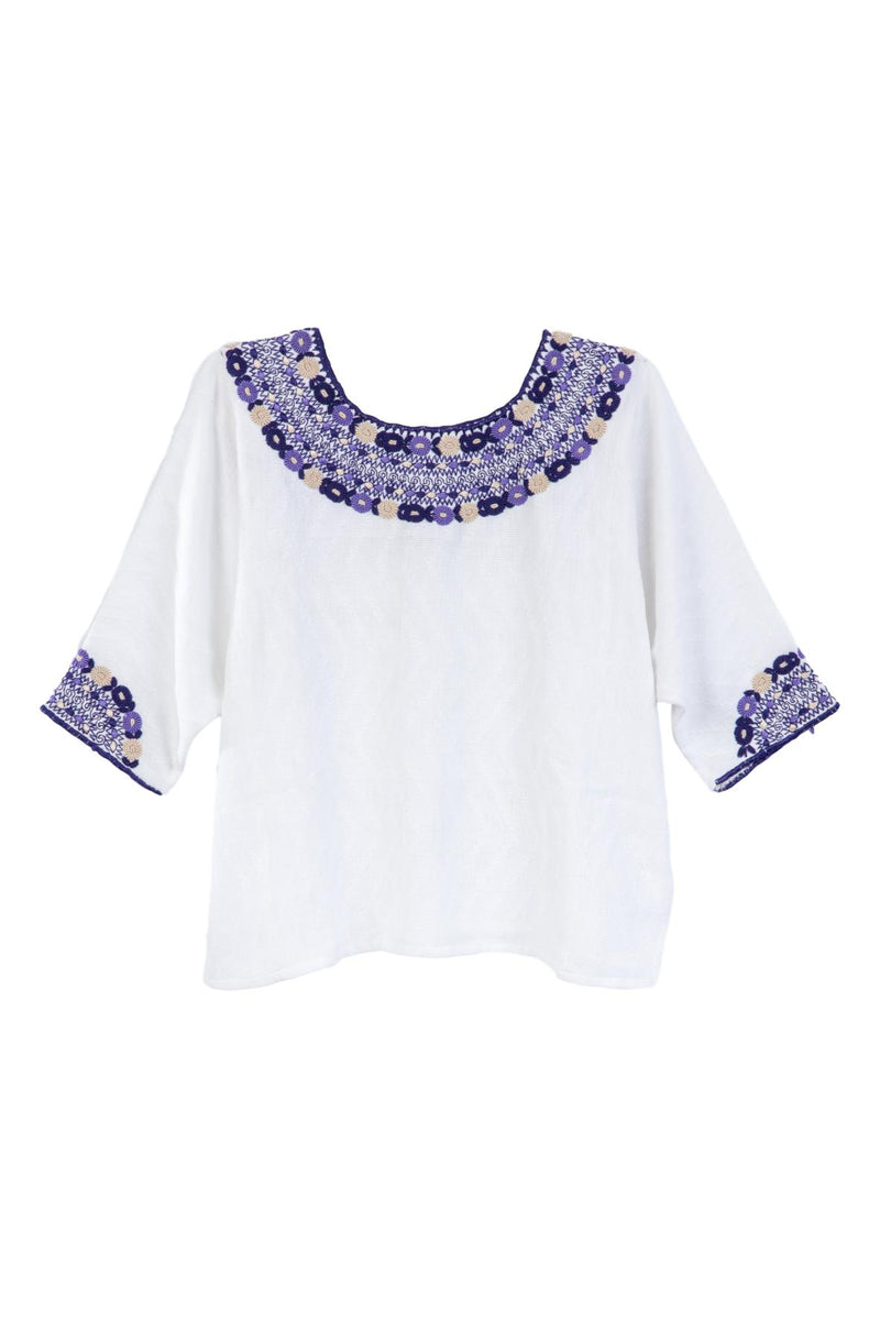 Gabrielle Guatemalan Blouse - Purple and Taupe