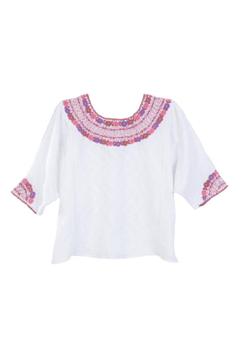 Gabrielle Guatemalan Blouse - Pink and Lilac