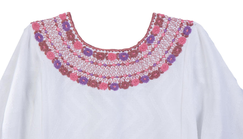 Gabrielle Guatemalan Blouse - Dusty Rose and Lavender