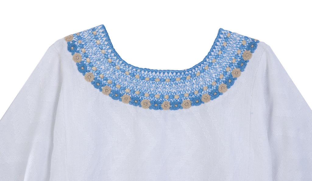 Gabrielle Guatemalan Blouse - French Blue and Taupe