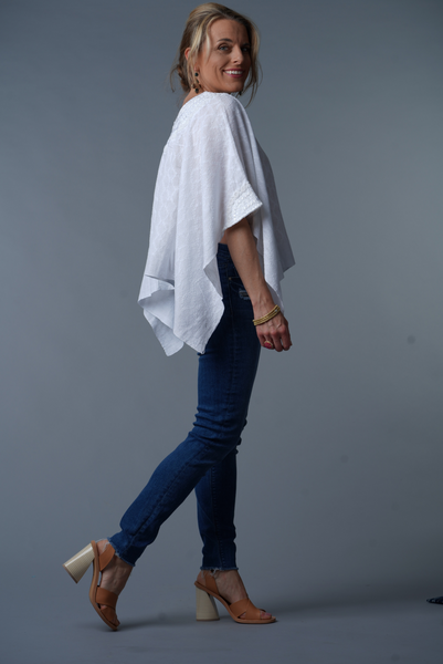 """Evelyn"" Loose Fit, Guatemalan Blouse/ Tunic, White on White"