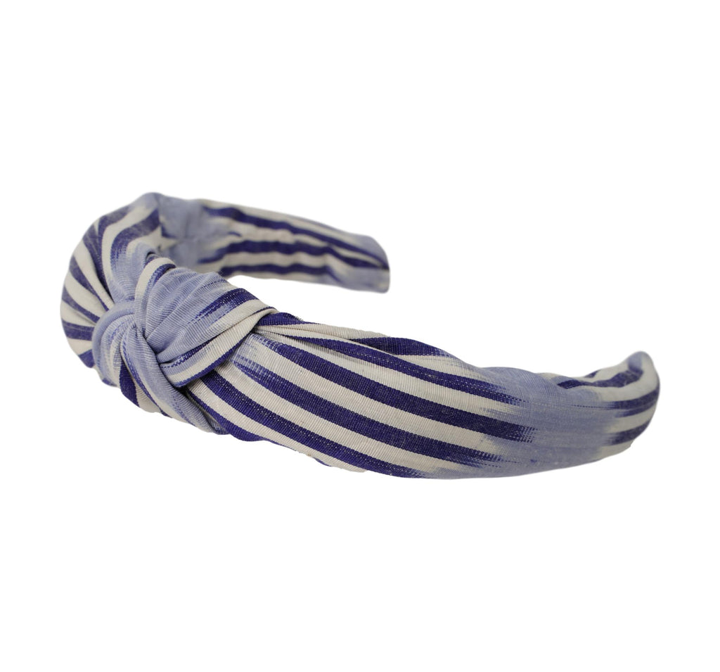 Silk Ikat Headband -Padded & Knotted-  Adelaide  Pattern-  Lilac, Blue
