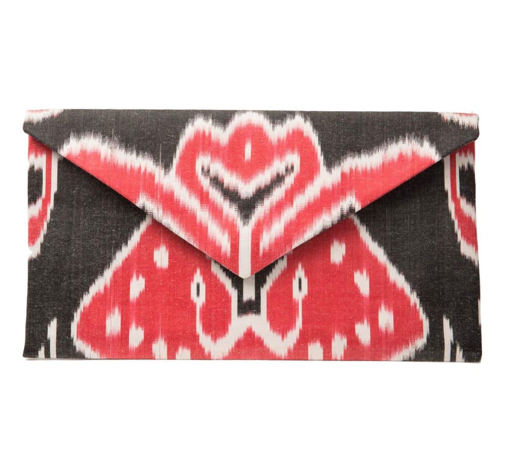 """Athens"" Silk Ikat Envelope Clutch, Large"