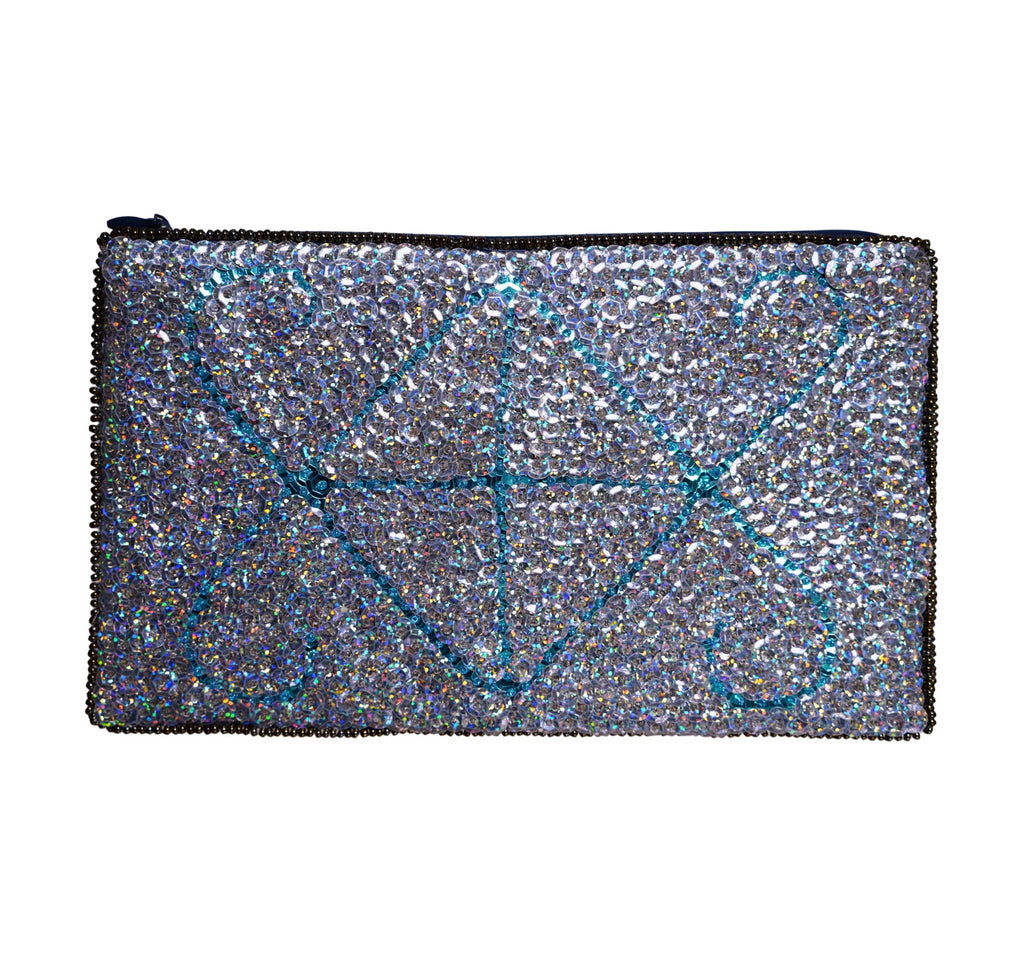 Ayizan Beaded Clutch- Silver and Turquoise