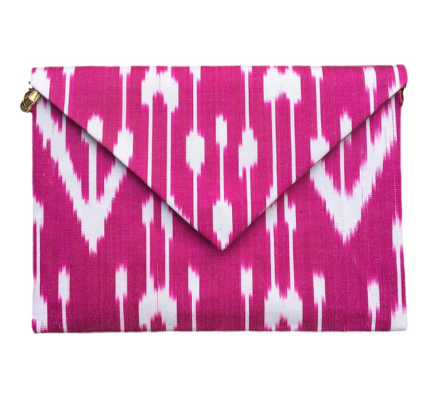 """Basques"" Silk Ikat Envelope Clutch"