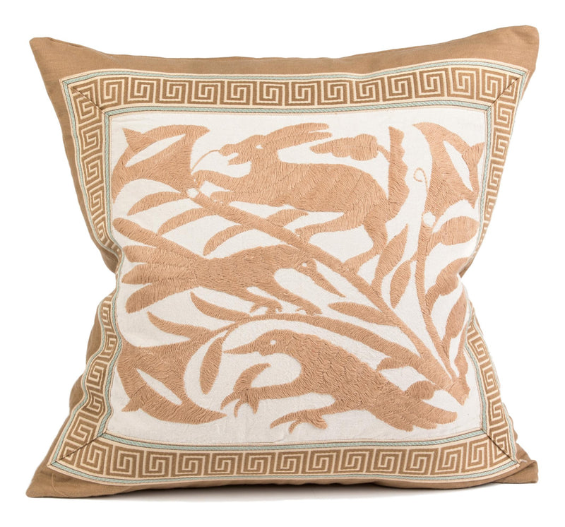 Decorative Pillow with Otomi Textile, Beige Linen and Greek Key tape Trim, Down Insert