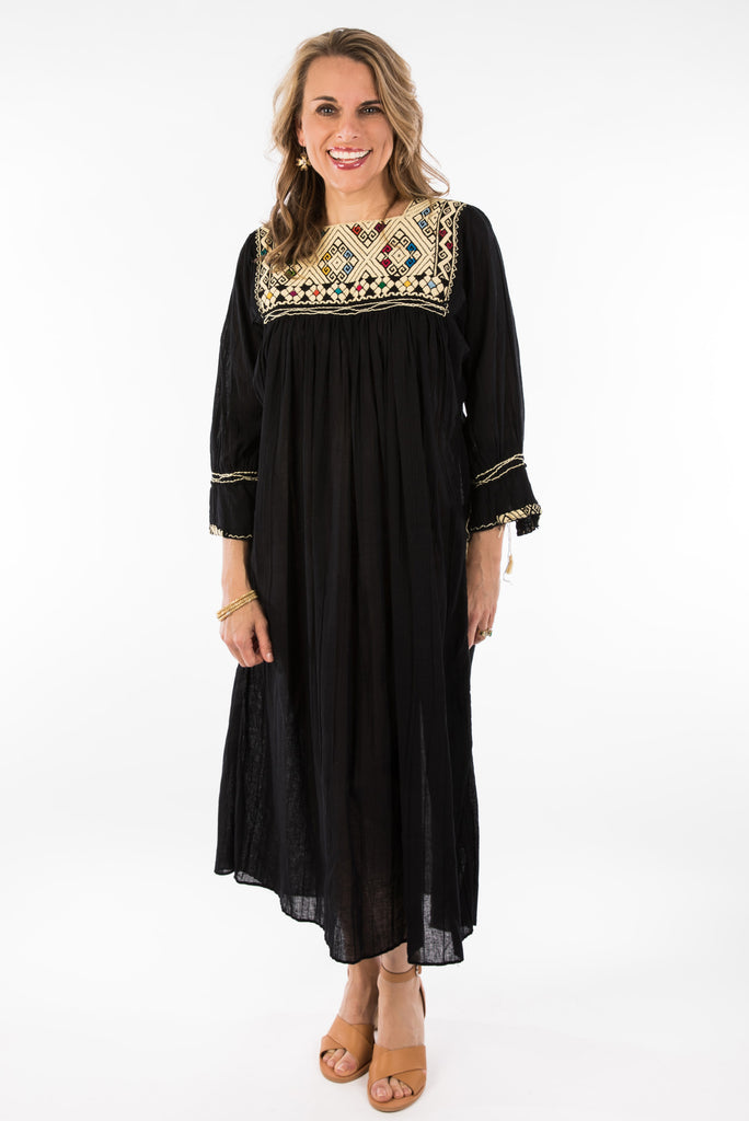"""Chiapas"" Embroidered Dress from Mexico, Black with Multicolored Embroidery"