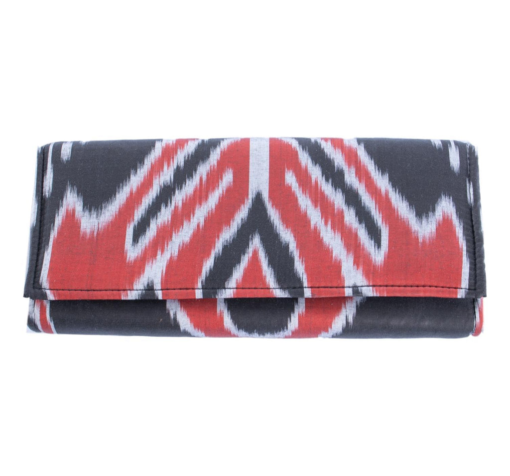 red and black silk envelope clutch