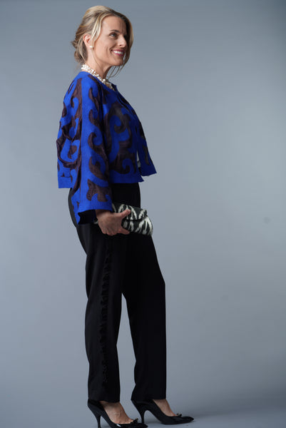 Felted Wool/ Silk Coat from Kyrgyszstan, Brilliant Blue and Black