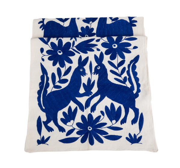 Otomi Table Runner, Royal Blue and White