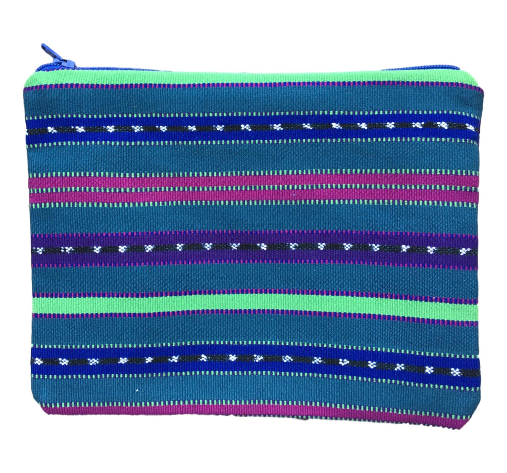 """Tikal"" Guatemalan Textile Bag in Teal, Blue, Raspberry and Purple"