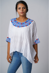 Evelyn Guatemalan Blouse - Blues & Red