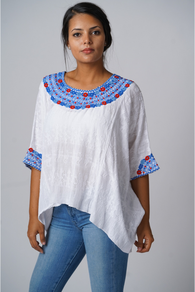 """Evelyn"" Loose Fit, Guatemalan Blouse in Blues and Red, Size Small/ Medium"