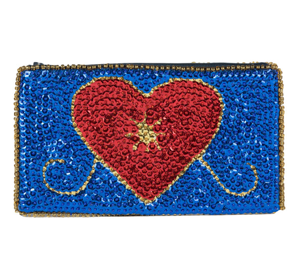"""Erzulie""Beaded Evening Clutch inRoyal Blue, Red and Gold"