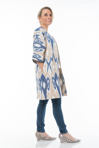 silk ikat jacket, 3/4 length sleeves, size medium, blue, tan and ivory, with pockets, hand made, fair trade, elegant for day into evening