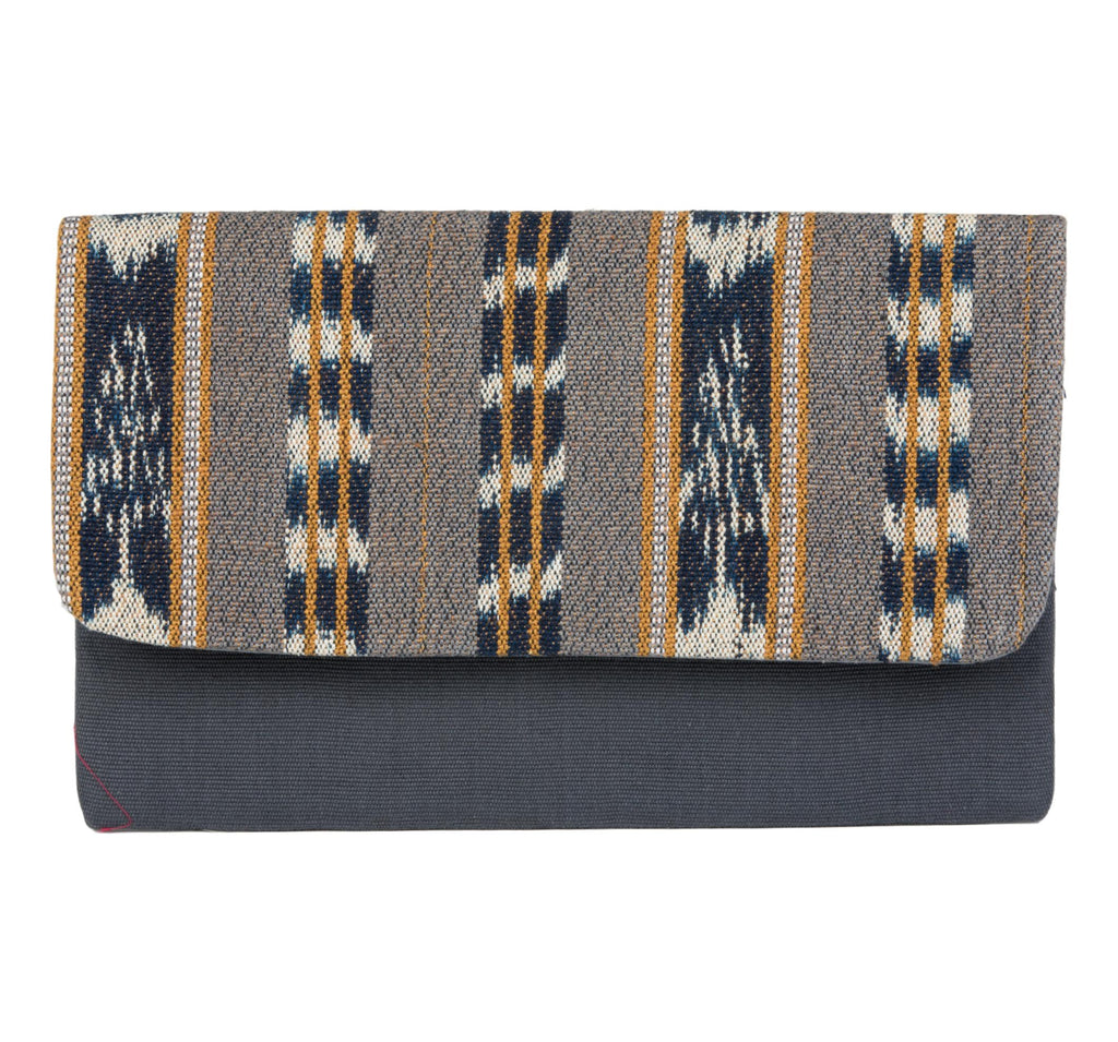 Guatemalan Textile Clutch-  Grey Blue, Tan