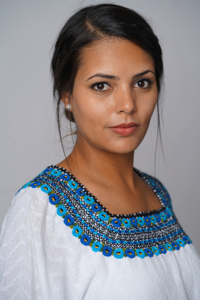 """Beatriz"" Guatemalan Blouse in Blue, Turquoise, and Black with Detailed Bottom Edge"
