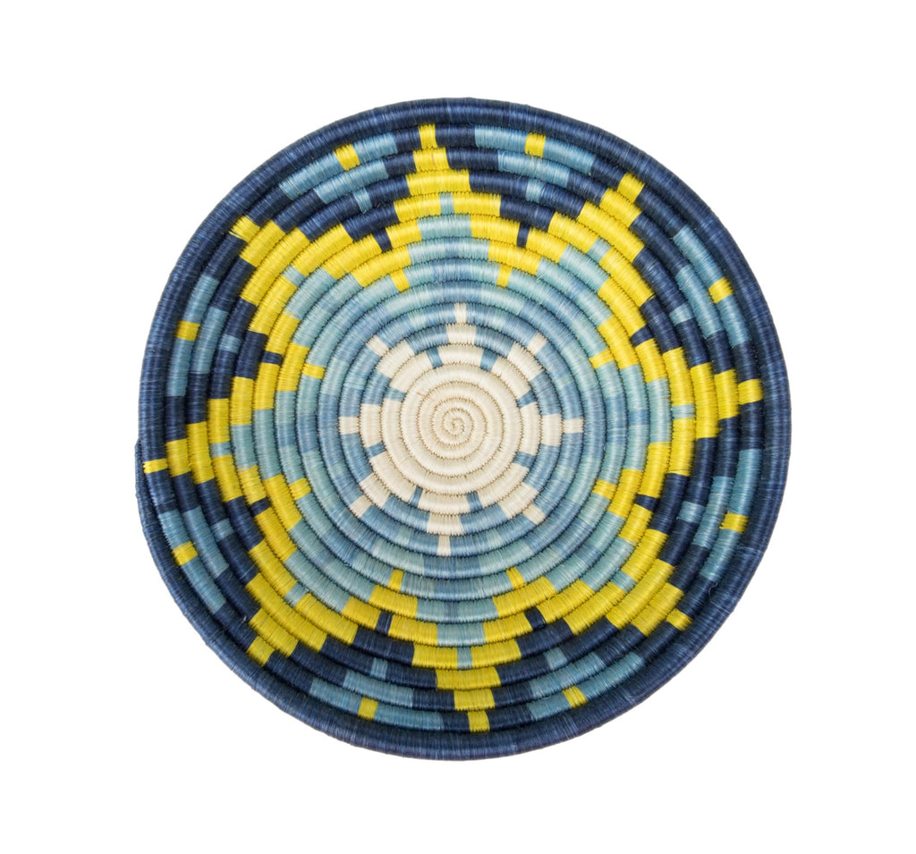 """Joy Basket"" from Rwanda, Royal Blue, Yellow and Light Blues"