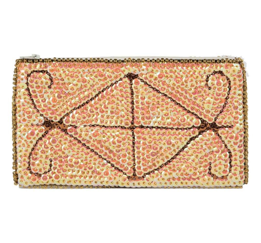 """Ayizan"" Beaded Evening Clutch in Blush Pink and Aubergine"