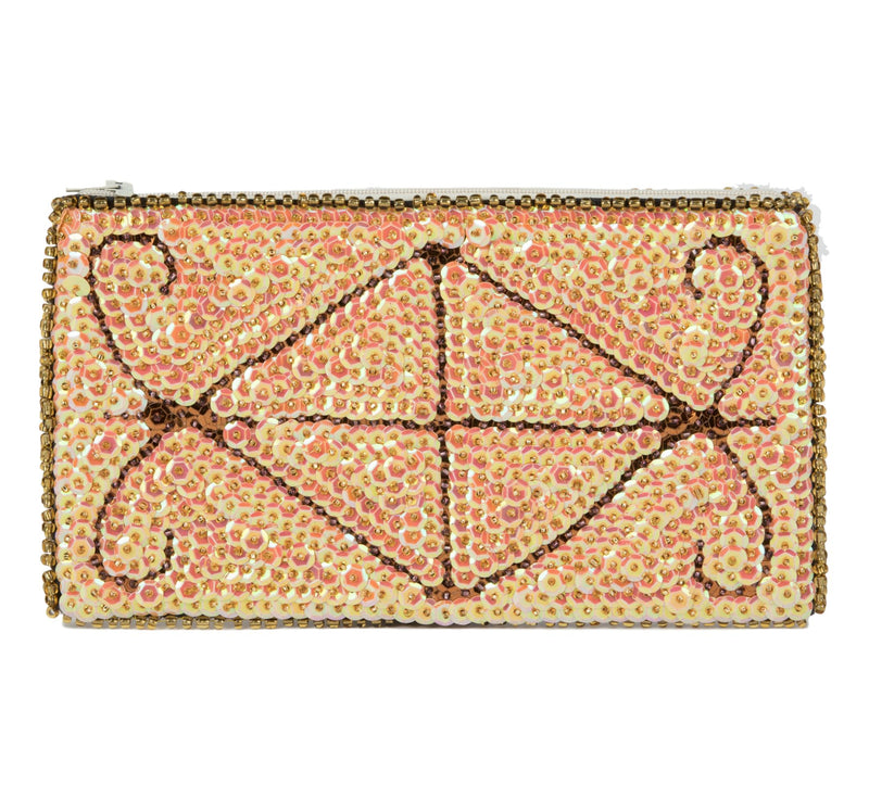 Ayizan Beaded Clutch - Blush / Champagne, Aubergine